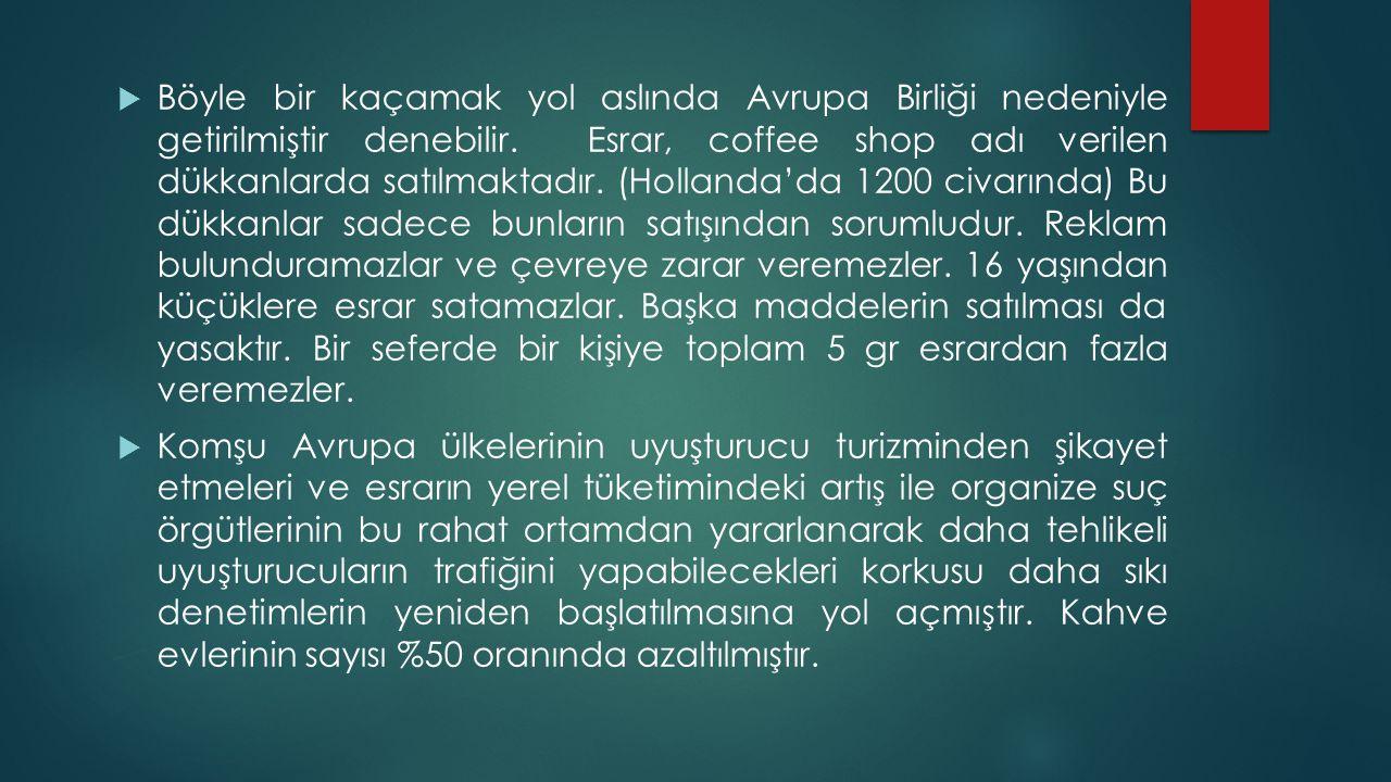  Böyle bir kaçamak yol aslında Avrupa Birliği nedeniyle getirilmiştir denebilir. Esrar, coffee shop adı verilen dükkanlarda satılmaktadır. (Hollanda'