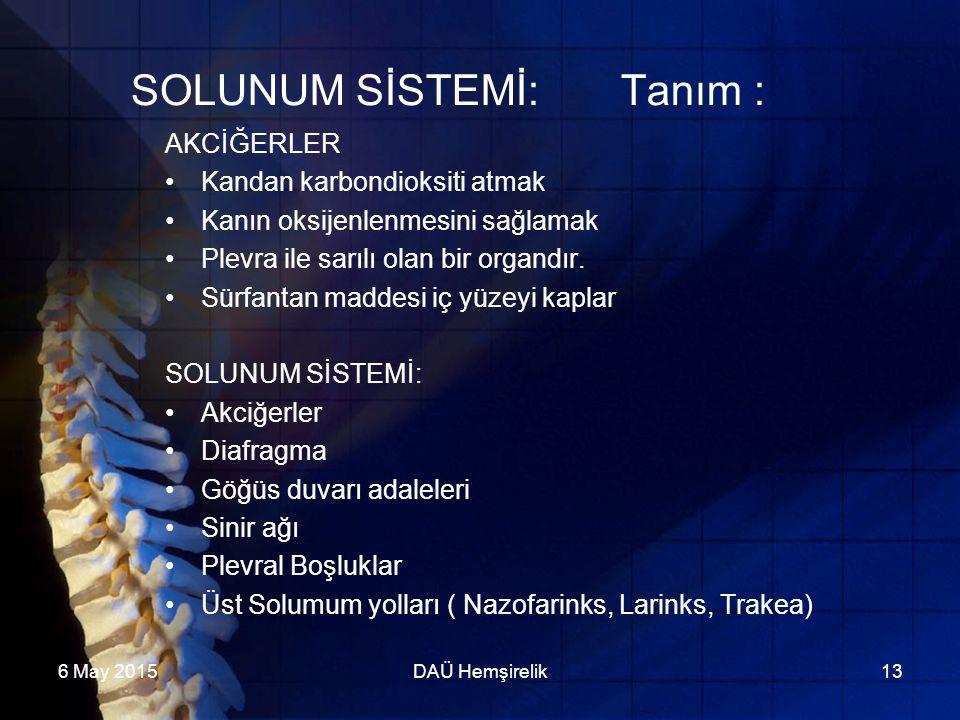 6 May 2015DAÜ Hemşirelik13 SOLUNUM SİSTEMİ: Tanım : AKCİĞERLER Kandan karbondioksiti atmak Kanın oksijenlenmesini sağlamak Plevra ile sarılı olan bir