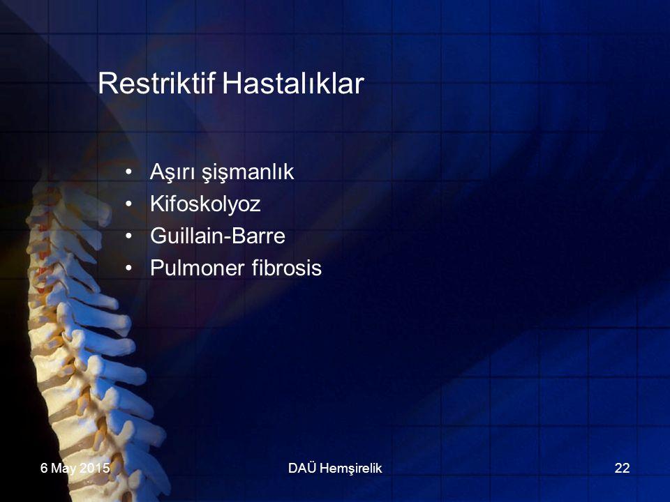6 May 2015DAÜ Hemşirelik22 Restriktif Hastalıklar Aşırı şişmanlık Kifoskolyoz Guillain-Barre Pulmoner fibrosis