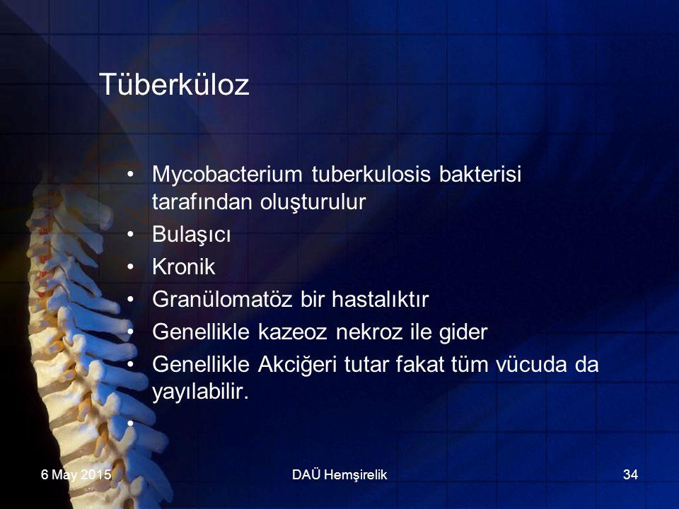 6 May 2015DAÜ Hemşirelik34 Tüberküloz Mycobacterium tuberkulosis bakterisi tarafından oluşturulur Bulaşıcı Kronik Granülomatöz bir hastalıktır Genelli