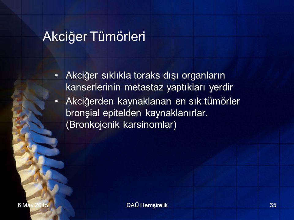6 May 2015DAÜ Hemşirelik35 Akciğer Tümörleri Akciğer sıklıkla toraks dışı organların kanserlerinin metastaz yaptıkları yerdir Akciğerden kaynaklanan e