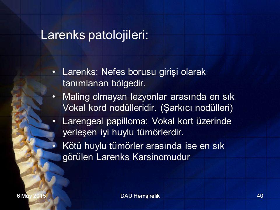 6 May 2015DAÜ Hemşirelik40 Larenks patolojileri: Larenks: Nefes borusu girişi olarak tanımlanan bölgedir. Maling olmayan lezyonlar arasında en sık Vok