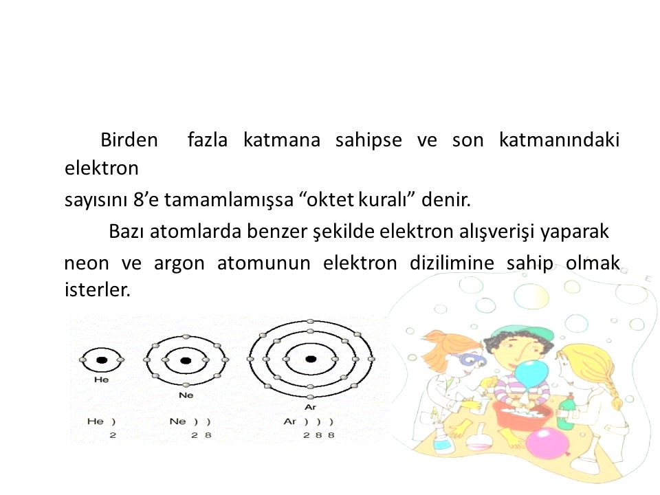 Birden fazla katmana sahipse ve son katmanındaki elektron sayısını 8'e tamamlamışsa oktet kuralı denir.