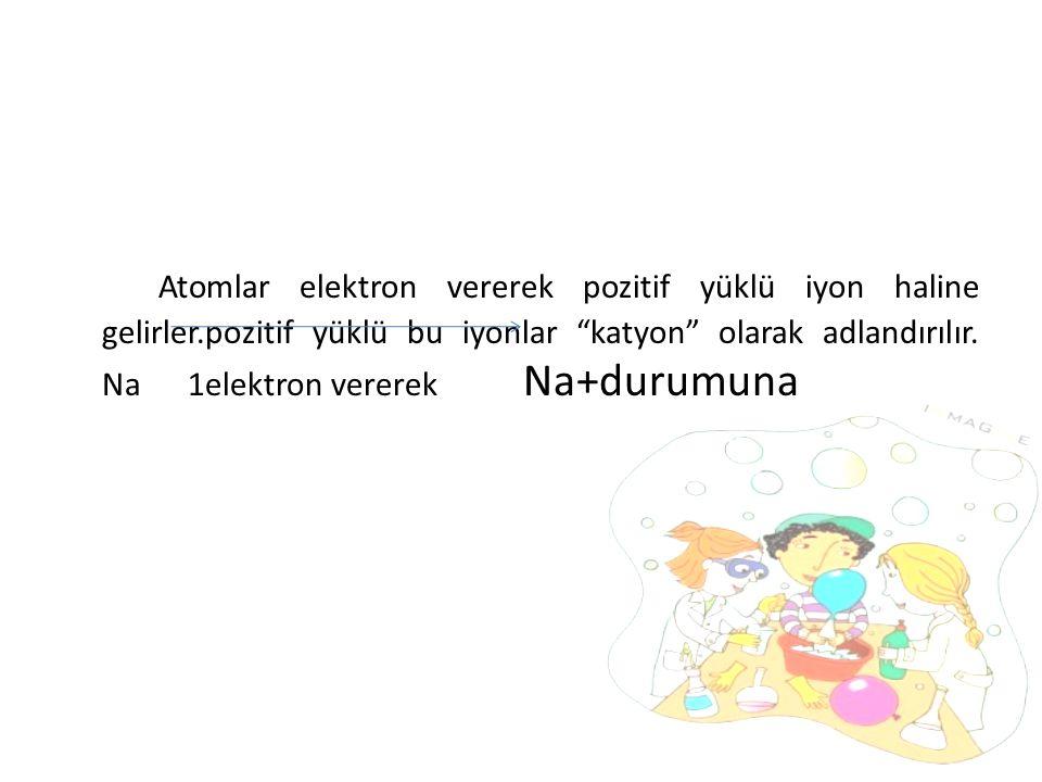 Atomlar elektron vererek pozitif yüklü iyon haline gelirler.pozitif yüklü bu iyonlar katyon olarak adlandırılır.