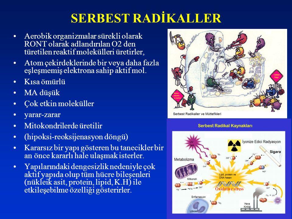 SERBEST RADİKALLER Aerobik organizmalar sürekli olarak RONT olarak adlandırılan O2 den türetilen reaktif molekülleri üretirler, Atom çekirdeklerinde b