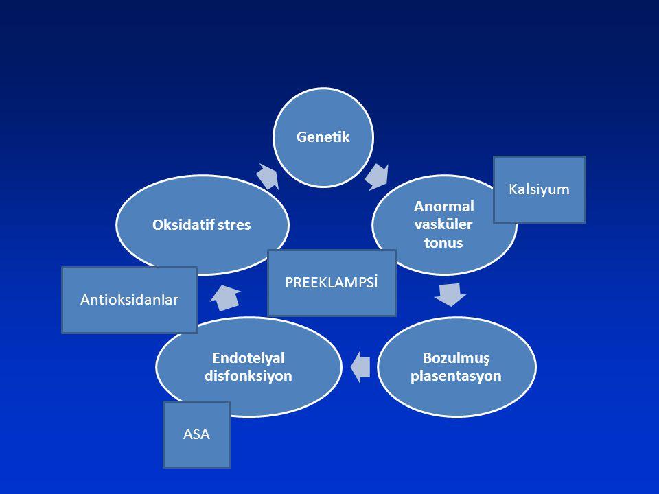 Genetik Anormal vasküler tonus Bozulmuş plasentasyon Endotelyal disfonksiyon Oksidatif stres Kalsiyum Antioksidanlar ASA PREEKLAMPSİ