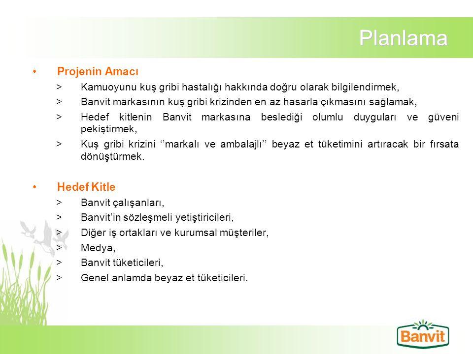Planlama Projenin Amacı >Kamuoyunu kuş gribi hastalığı hakkında doğru olarak bilgilendirmek, >Banvit markasının kuş gribi krizinden en az hasarla çıkm