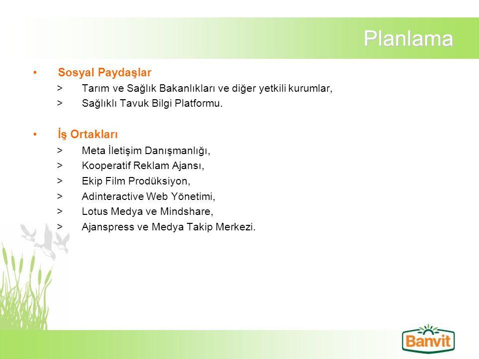 Planlama Sosyal Paydaşlar >Tarım ve Sağlık Bakanlıkları ve diğer yetkili kurumlar, >Sağlıklı Tavuk Bilgi Platformu. İş Ortakları >Meta İletişim Danışm
