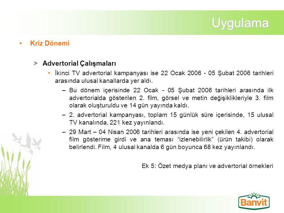 Uygulama Kriz Dönemi >Advertorial Çalışmaları İkinci TV advertorial kampanyası ise 22 Ocak 2006 - 05 Şubat 2006 tarihleri arasında ulusal kanallarda y