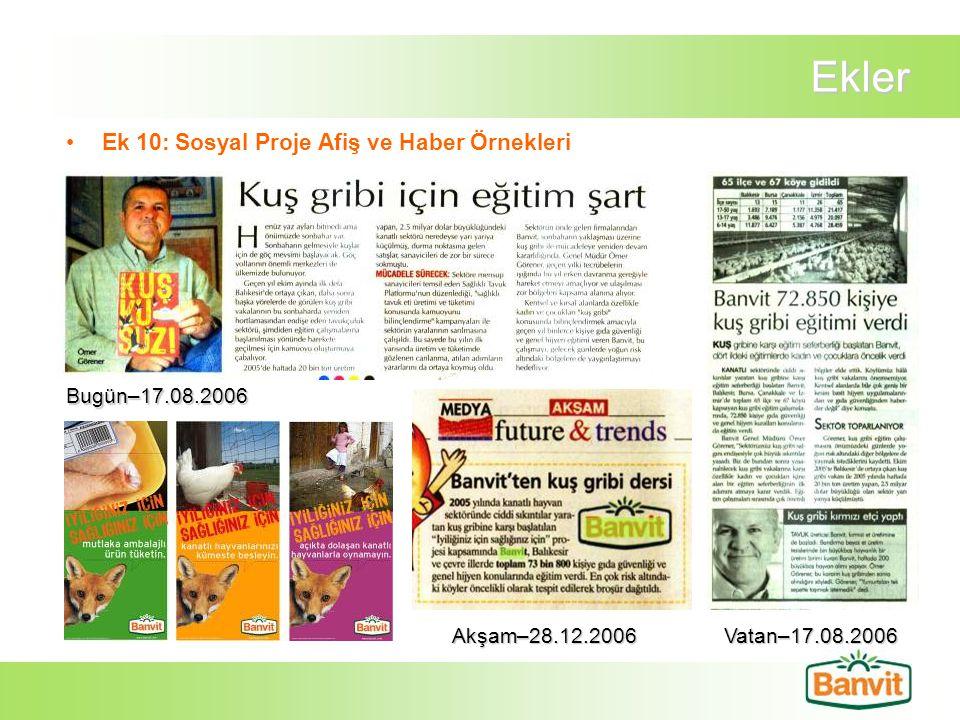 Ekler Ek 10: Sosyal Proje Afiş ve Haber Örnekleri Bugün–17.08.2006 Akşam–28.12.2006Vatan–17.08.2006