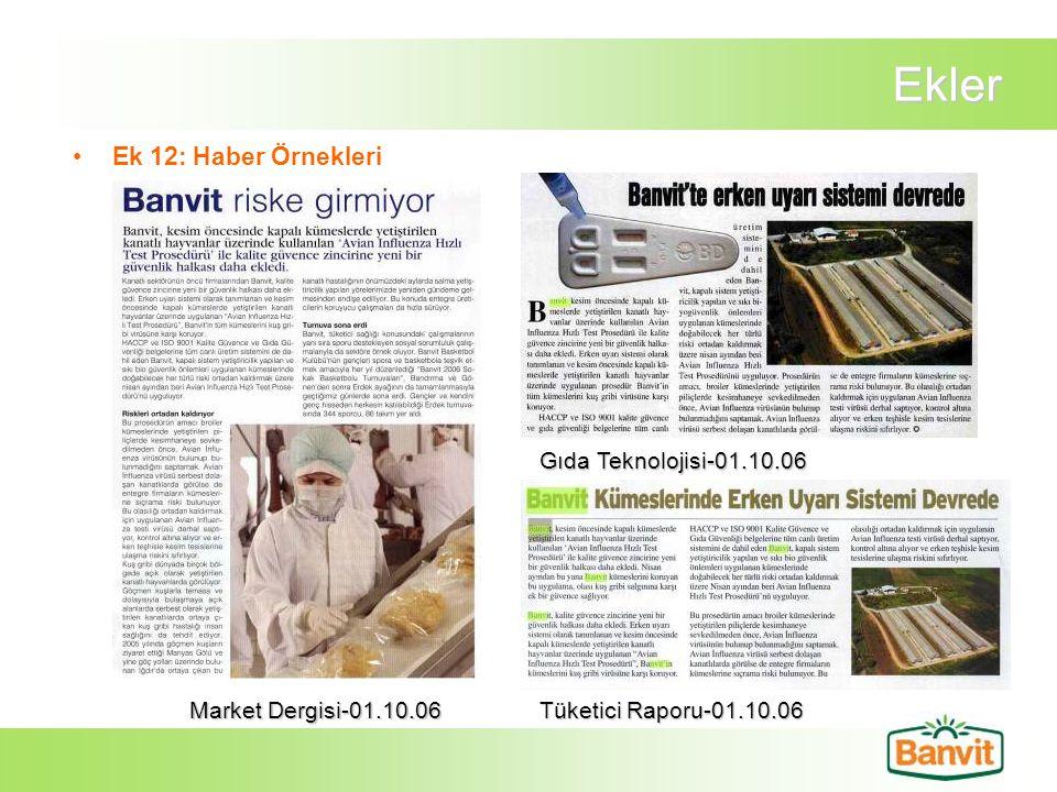 Ekler Ek 12: Haber Örnekleri Market Dergisi-01.10.06 Gıda Teknolojisi-01.10.06 Tüketici Raporu-01.10.06