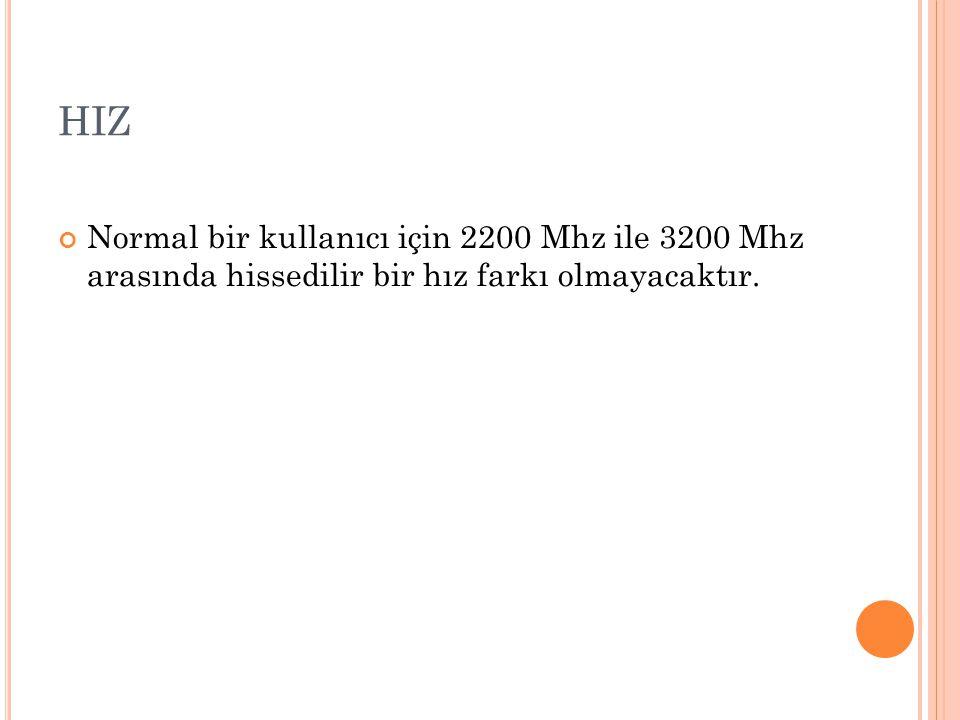 HIZ Normal bir kullanıcı için 2200 Mhz ile 3200 Mhz arasında hissedilir bir hız farkı olmayacaktır.