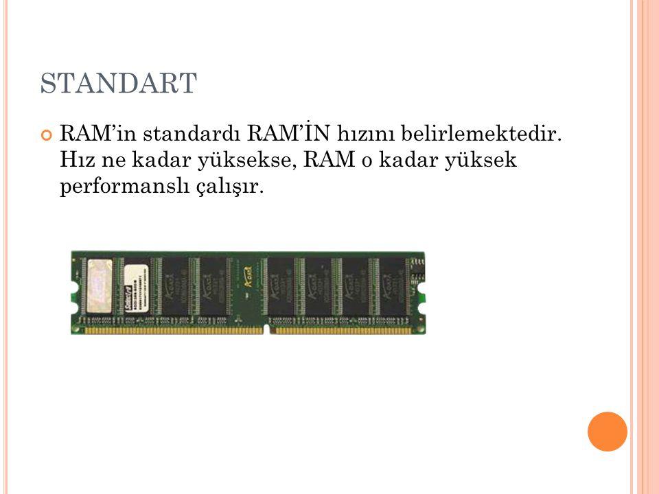 STANDART RAM'in standardı RAM'İN hızını belirlemektedir.
