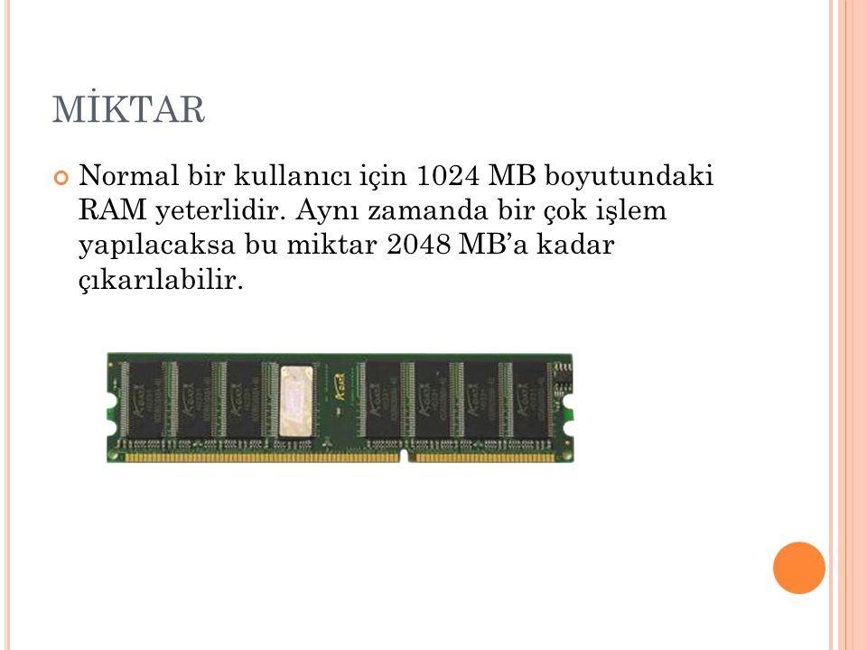 MİKTAR Normal bir kullanıcı için 1024 MB boyutundaki RAM yeterlidir.