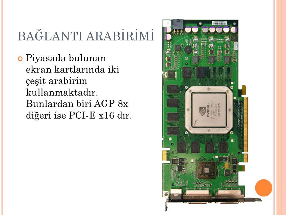 BAĞLANTI ARABİRİMİ Piyasada bulunan ekran kartlarında iki çeşit arabirim kullanmaktadır.