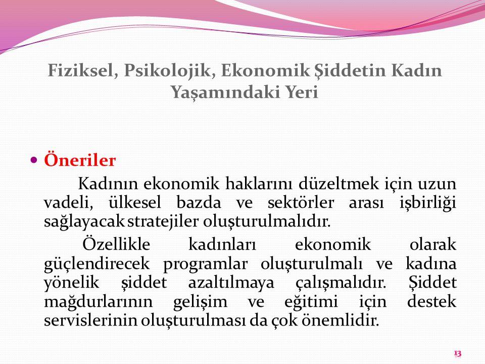 Fiziksel, Psikolojik, Ekonomik Şiddetin Kadın Yaşamındaki Yeri Öneriler Kadının ekonomik haklarını düzeltmek için uzun vadeli, ülkesel bazda ve sektör