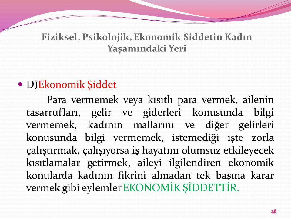 Fiziksel, Psikolojik, Ekonomik Şiddetin Kadın Yaşamındaki Yeri D)Ekonomik Şiddet Para vermemek veya kısıtlı para vermek, ailenin tasarrufları, gelir v