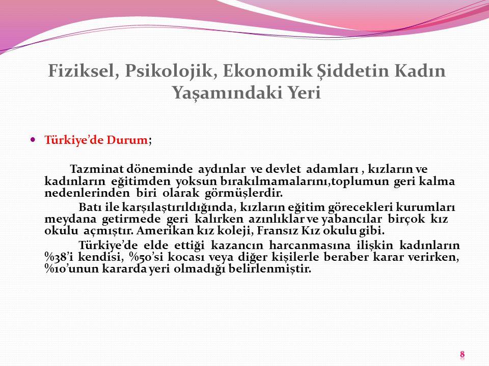 Fiziksel, Psikolojik, Ekonomik Şiddetin Kadın Yaşamındaki Yeri Türkiye'de Durum; Tazminat döneminde aydınlar ve devlet adamları, kızların ve kadınları
