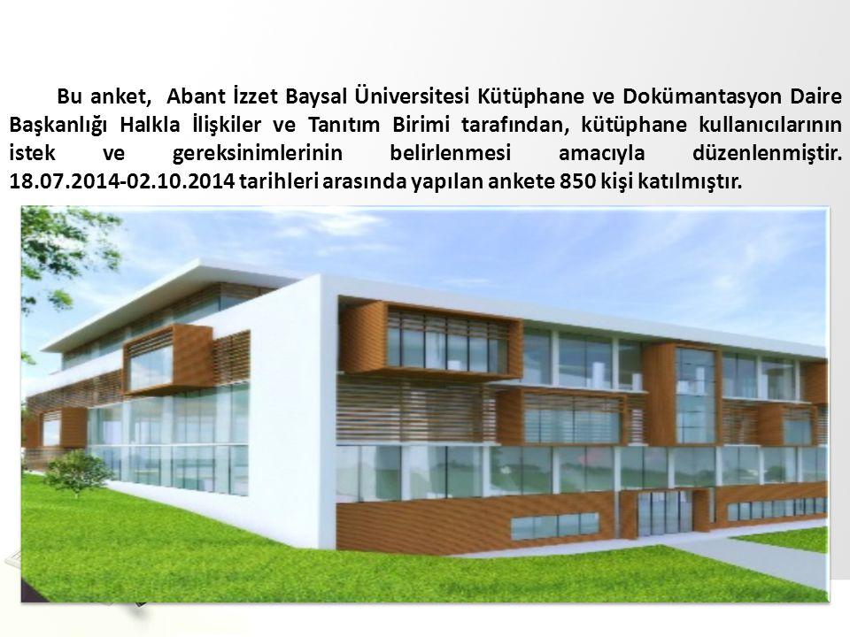 Bu anket, Abant İzzet Baysal Üniversitesi Kütüphane ve Dokümantasyon Daire Başkanlığı Halkla İlişkiler ve Tanıtım Birimi tarafından, kütüphane kullanı
