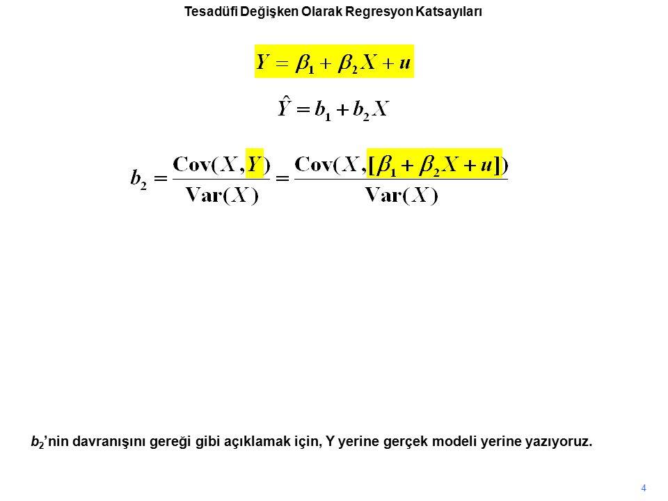 Tesadüfi Değişken Olarak Regresyon Katsayıları b 2 'nin davranışını gereği gibi açıklamak için, Y yerine gerçek modeli yerine yazıyoruz. 4