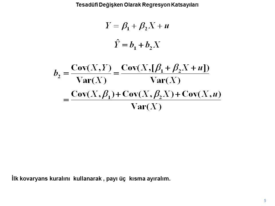 Tesadüfi Değişken Olarak Regresyon Katsayıları İlk kovaryans kuralını kullanarak, payı üç kısma ayıralım. 5