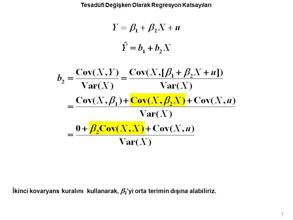 Tesadüfi Değişken Olarak Regresyon Katsayıları İkinci kovaryans kuralını kullanarak,  2 'yi orta terimin dışına alabiliriz. 7