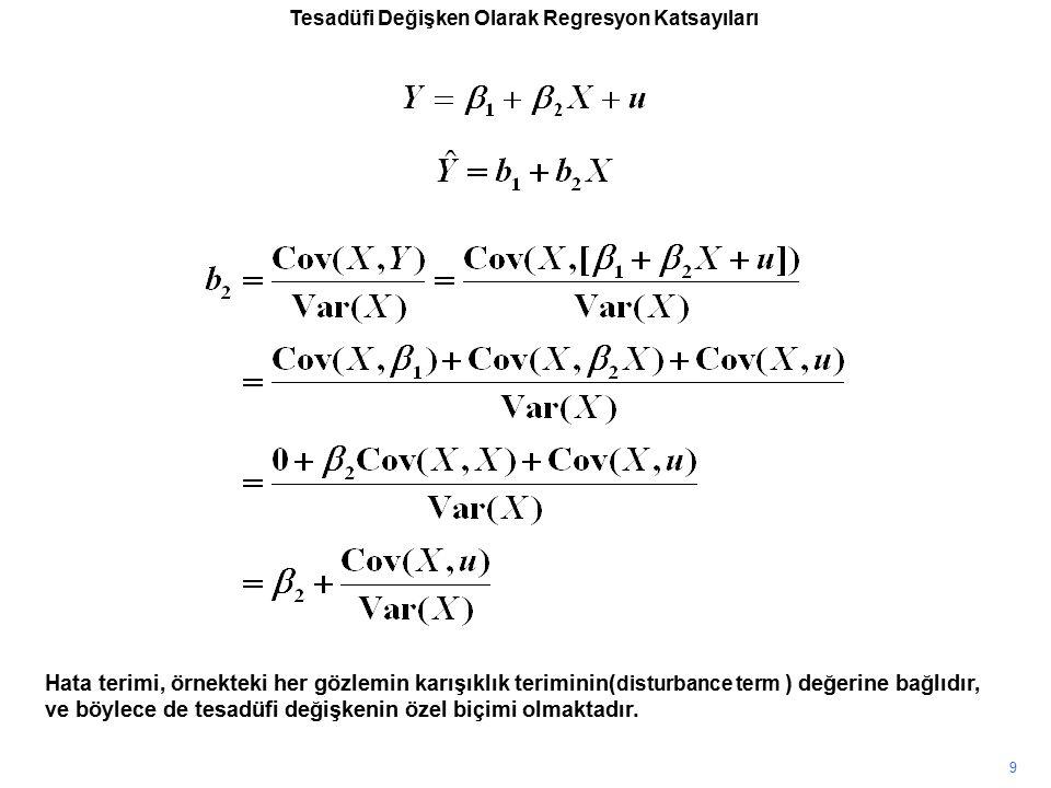 Tesadüfi Değişken Olarak Regresyon Katsayıları Hata terimi, örnekteki her gözlemin karışıklık teriminin( disturbance term ) değerine bağlıdır, ve böyl