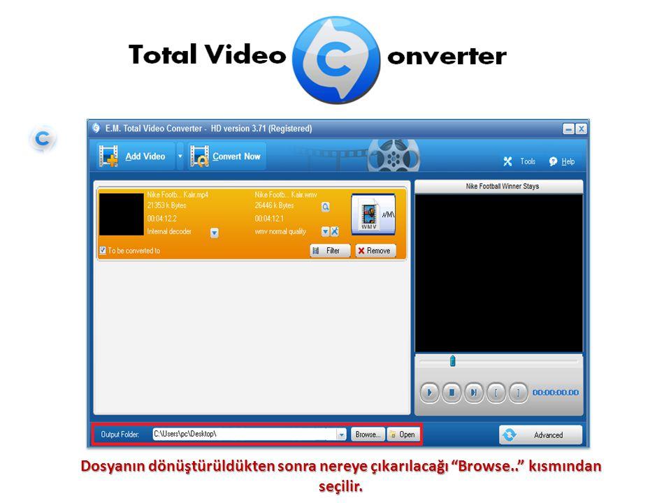 Çevrilecek format seçildikten sonra Convert Now seçeneğine tıklayınca dönüştürme işlemi başlar.