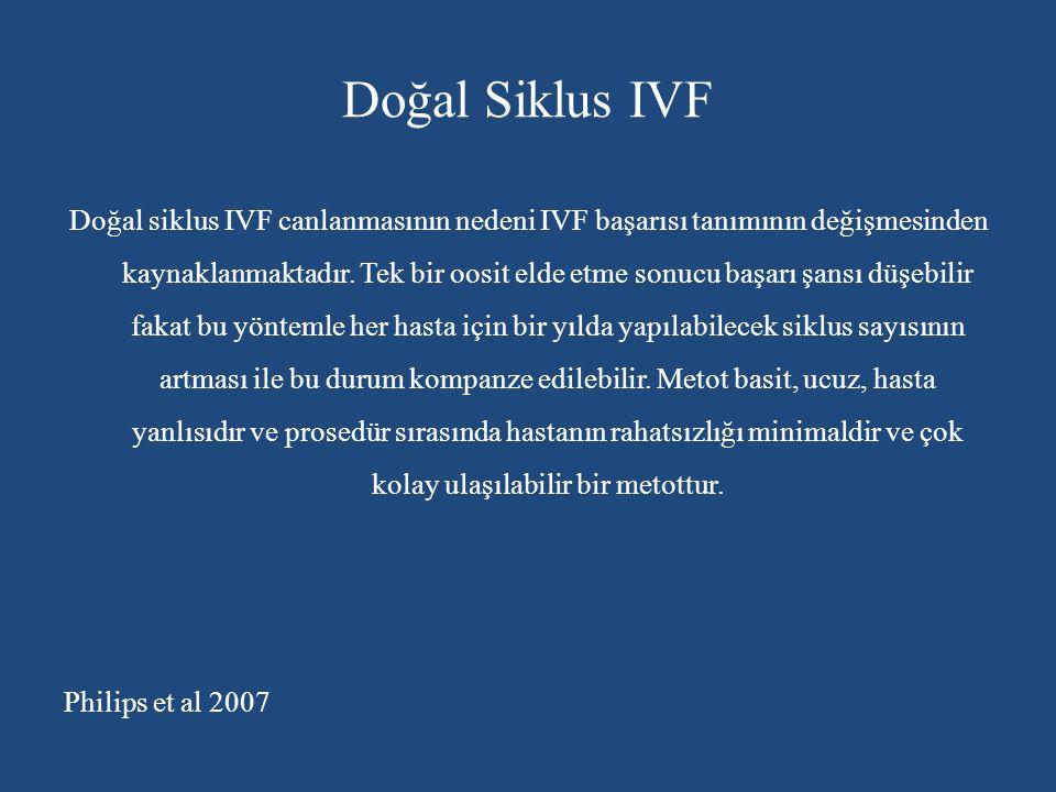 Doğal Siklus IVF Doğal siklus IVF canlanmasının nedeni IVF başarısı tanımının değişmesinden kaynaklanmaktadır. Tek bir oosit elde etme sonucu başarı ş