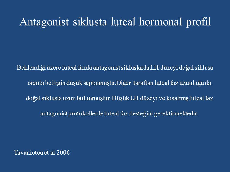 Antagonist siklusta luteal hormonal profil Beklendiği üzere luteal fazda antagonist sikluslarda LH düzeyi doğal siklusa oranla belirgin düşük saptanmı