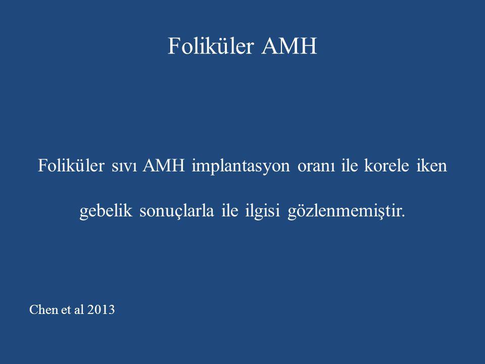 Foliküler AMH Foliküler sıvı AMH implantasyon oranı ile korele iken gebelik sonuçlarla ile ilgisi gözlenmemiştir. Chen et al 2013