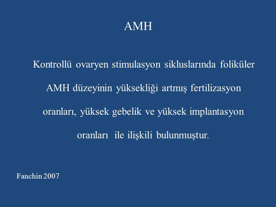 AMH Kontrollü ovaryen stimulasyon sikluslarında foliküler AMH düzeyinin yüksekliği artmış fertilizasyon oranları, yüksek gebelik ve yüksek implantasyo