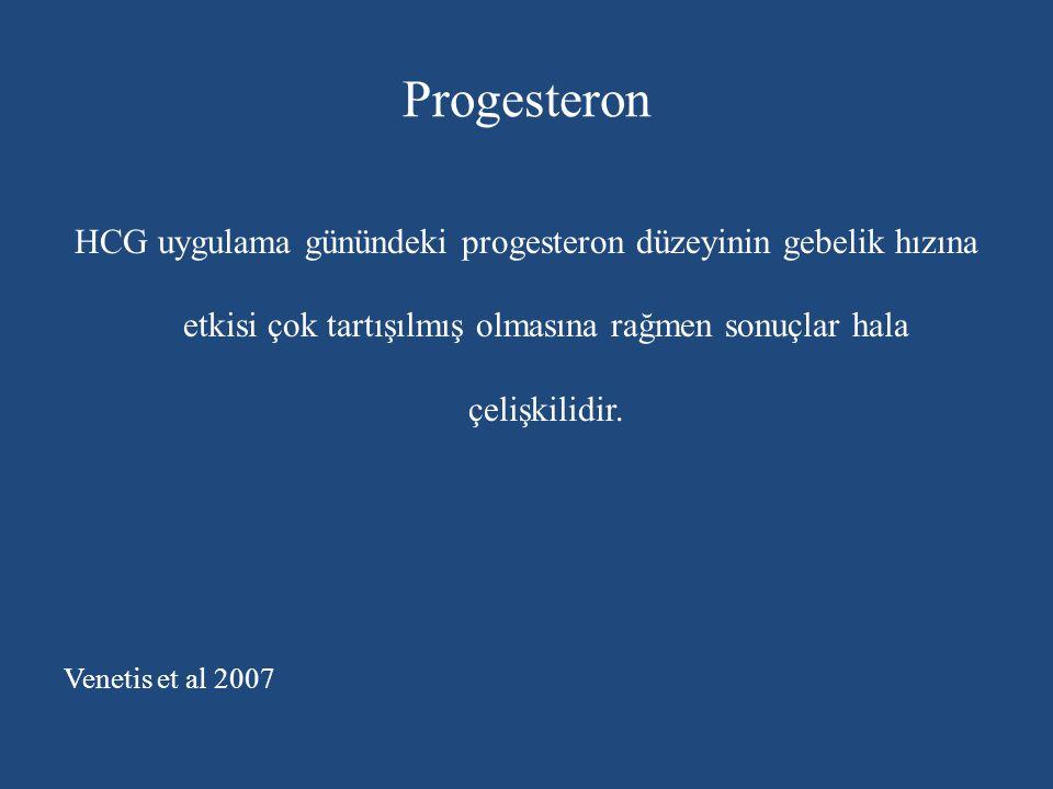 Progesteron HCG uygulama günündeki progesteron düzeyinin gebelik hızına etkisi çok tartışılmış olmasına rağmen sonuçlar hala çelişkilidir. Venetis et