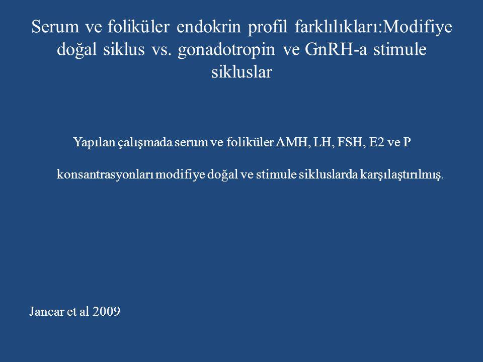 Serum ve foliküler endokrin profil farklılıkları:Modifiye doğal siklus vs. gonadotropin ve GnRH-a stimule sikluslar Yapılan çalışmada serum ve folikül