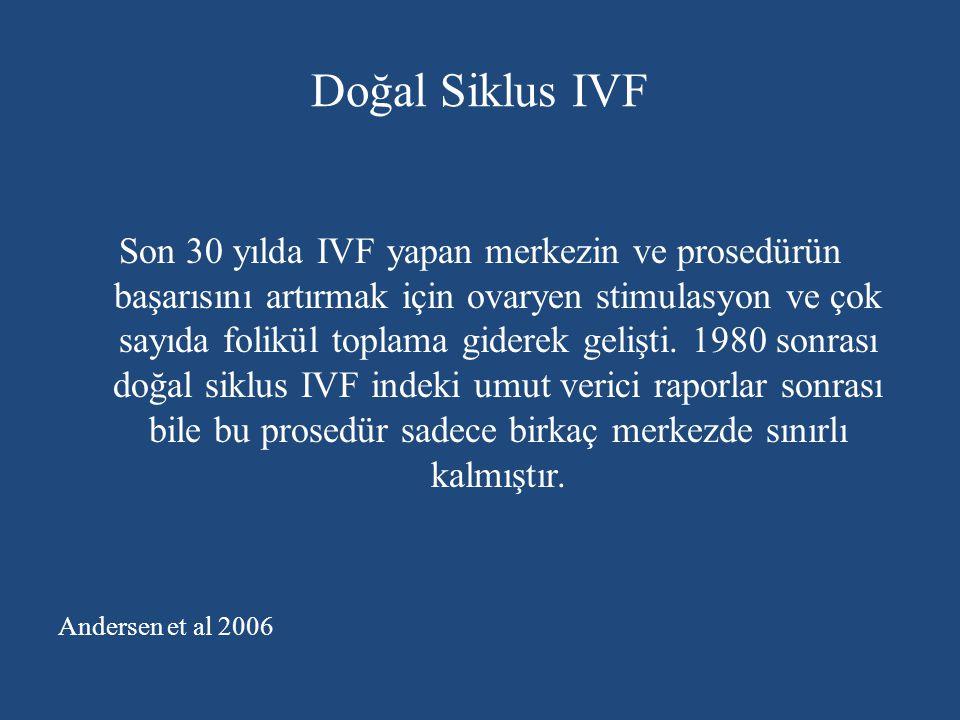 Doğal Siklus IVF Son 30 yılda IVF yapan merkezin ve prosedürün başarısını artırmak için ovaryen stimulasyon ve çok sayıda folikül toplama giderek geli