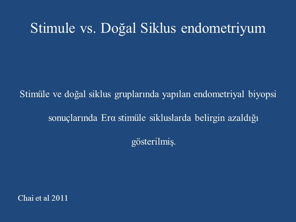 Stimule vs. Doğal Siklus endometriyum Stimüle ve doğal siklus gruplarında yapılan endometriyal biyopsi sonuçlarında Erα stimüle sikluslarda belirgin a