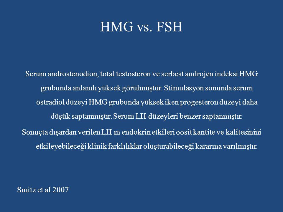 HMG vs. FSH Serum androstenodion, total testosteron ve serbest androjen indeksi HMG grubunda anlamlı yüksek görülmüştür. Stimulasyon sonunda serum öst