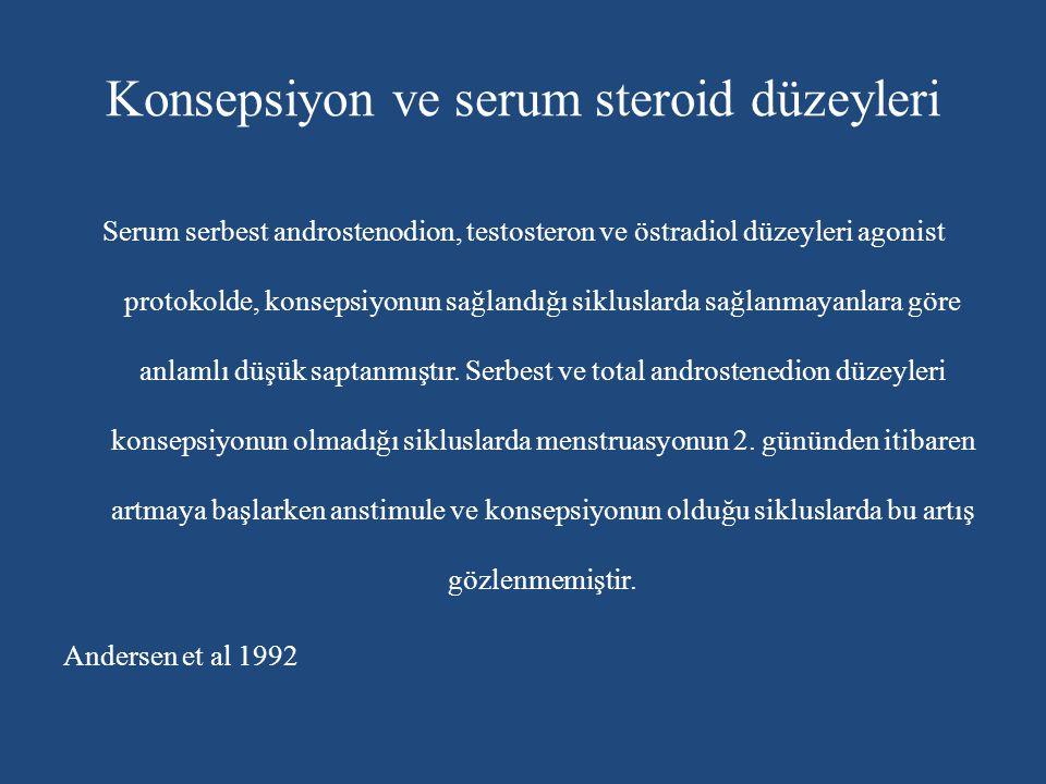 Konsepsiyon ve serum steroid düzeyleri Serum serbest androstenodion, testosteron ve östradiol düzeyleri agonist protokolde, konsepsiyonun sağlandığı s
