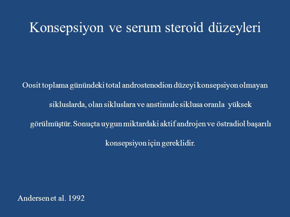 Konsepsiyon ve serum steroid düzeyleri Oosit toplama günündeki total androstenodion düzeyi konsepsiyon olmayan sikluslarda, olan sikluslara ve anstimu