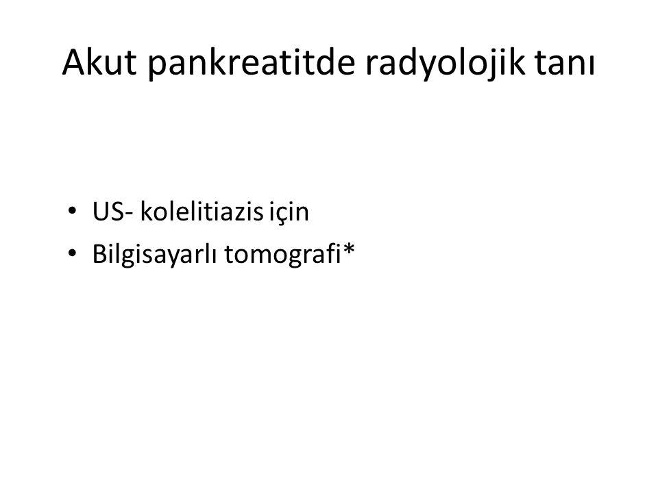 Akut pankreatitde radyolojik tanı US- kolelitiazis için Bilgisayarlı tomografi*