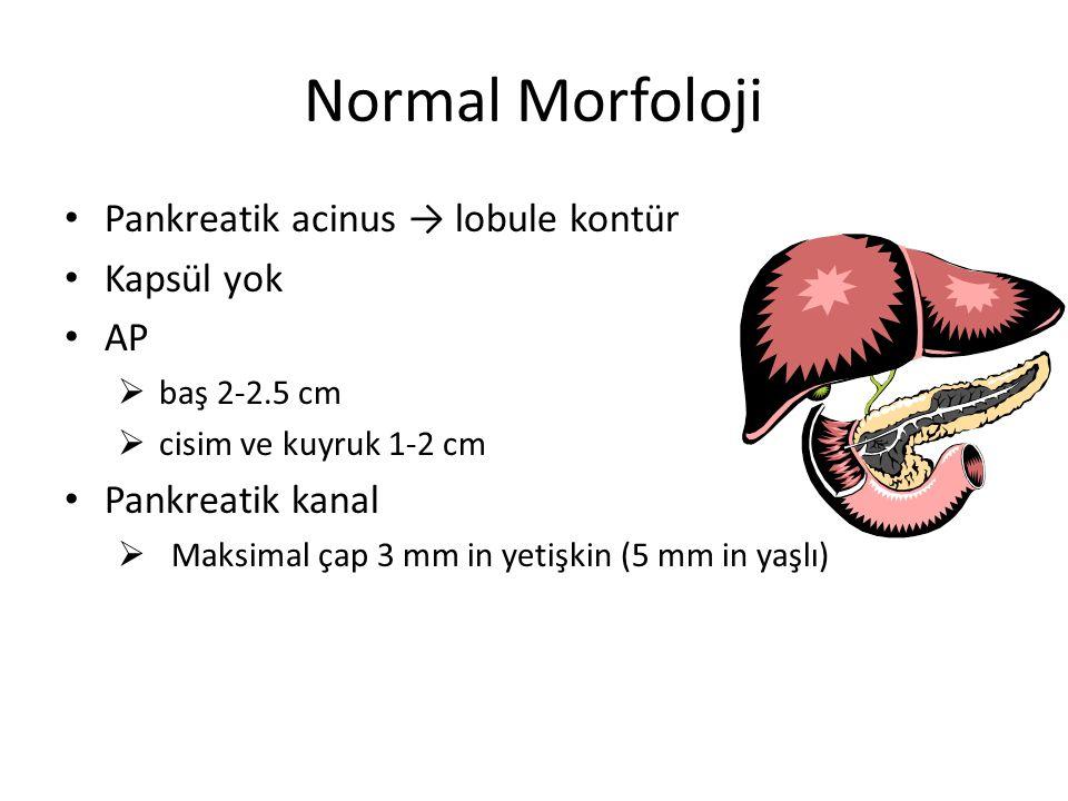 Normal Morfoloji Pankreatik acinus → lobule kontür Kapsül yok AP  baş 2-2.5 cm  cisim ve kuyruk 1-2 cm Pankreatik kanal  Maksimal çap 3 mm in yetiş