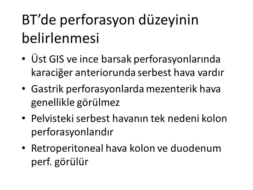 BT'de perforasyon düzeyinin belirlenmesi Üst GIS ve ince barsak perforasyonlarında karaciğer anteriorunda serbest hava vardır Gastrik perforasyonlarda