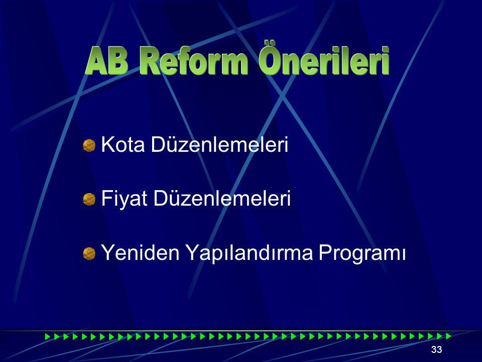 32 4634 sayılı Şeker Kanunu ile Türkiye Şeker Rejimi, AB Şeker Rejiminin temel unsurlarından; Kotalı üretim, Depolama maliyetinin dengelenmesi sistemi, Minimum stok sistemi, Sektörün oto finansmanı gibi konularda büyük ölçüde uyumlu hale gelmiştir.