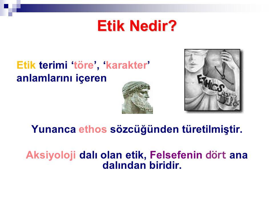 Etik Nedir? Etik terimi 'töre', 'karakter' anlamlarını içeren Yunanca ethos sözcüğünden türetilmiştir. Aksiyoloji dalı olan etik, Felsefenin dört ana