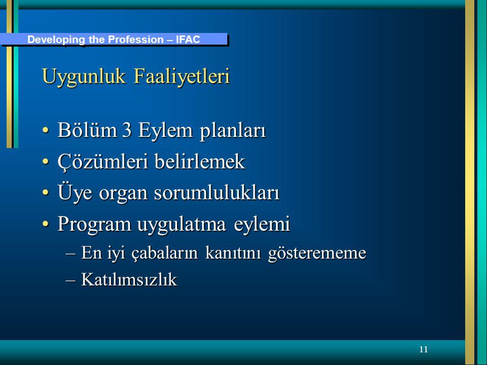 Developing the Profession – IFAC 11 Uygunluk Faaliyetleri Bölüm 3 Eylem planlarıBölüm 3 Eylem planları Çözümleri belirlemekÇözümleri belirlemek Üye organ sorumluluklarıÜye organ sorumlulukları Program uygulatma eylemiProgram uygulatma eylemi –En iyi çabaların kanıtını gösterememe –Katılımsızlık