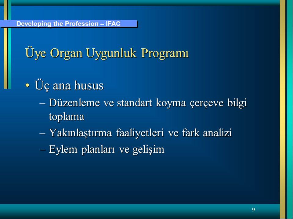 Developing the Profession – IFAC 9 Üye Organ Uygunluk Programı Üç ana hususÜç ana husus –Düzenleme ve standart koyma çerçeve bilgi toplama –Yakınlaştırma faaliyetleri ve fark analizi –Eylem planları ve gelişim