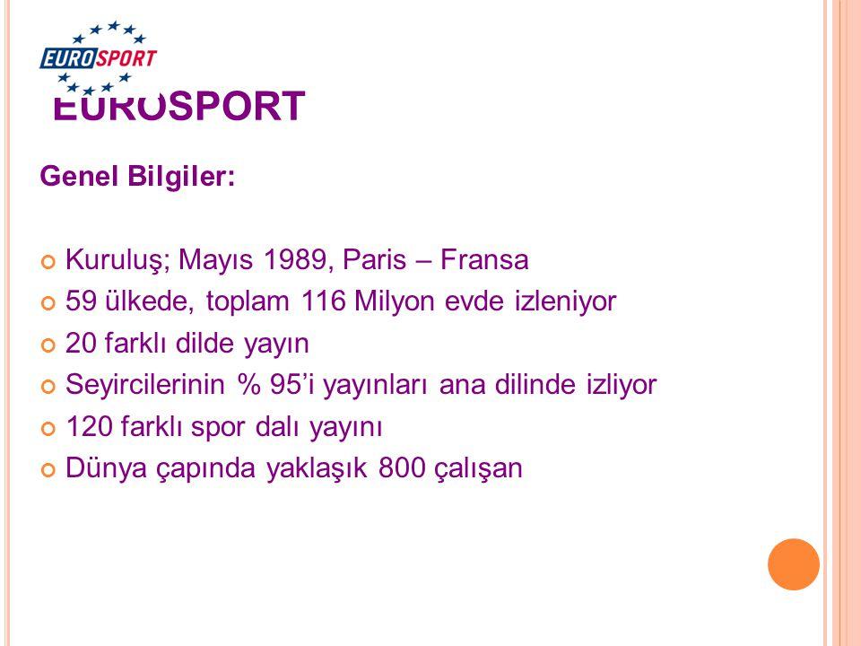 EUROSPORT Genel Bilgiler: Kuruluş; Mayıs 1989, Paris – Fransa 59 ülkede, toplam 116 Milyon evde izleniyor 20 farklı dilde yayın Seyircilerinin % 95'i