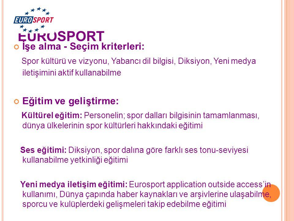 EUROSPORT İşe alma - Seçim kriterleri: Spor kültürü ve vizyonu, Yabancı dil bilgisi, Diksiyon, Yeni medya iletişimini aktif kullanabilme Eğitim ve gel
