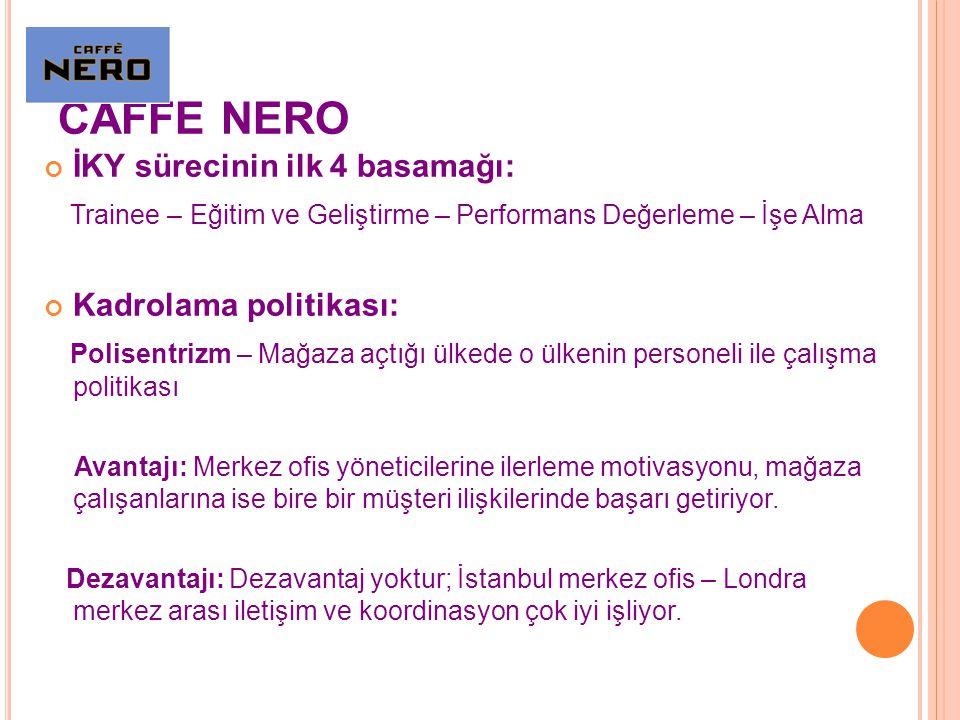 CAFFE NERO İKY sürecinin ilk 4 basamağı: Trainee – Eğitim ve Geliştirme – Performans Değerleme – İşe Alma Kadrolama politikası: Polisentrizm – Mağaza