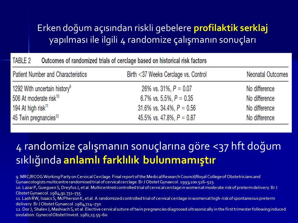 Erken doğum açısından riskli gebelere profilaktik serklaj yapılması ile ilgili 4 randomize çalışmanın sonuçları 9. MRC/RCOG Working Party on Cervical